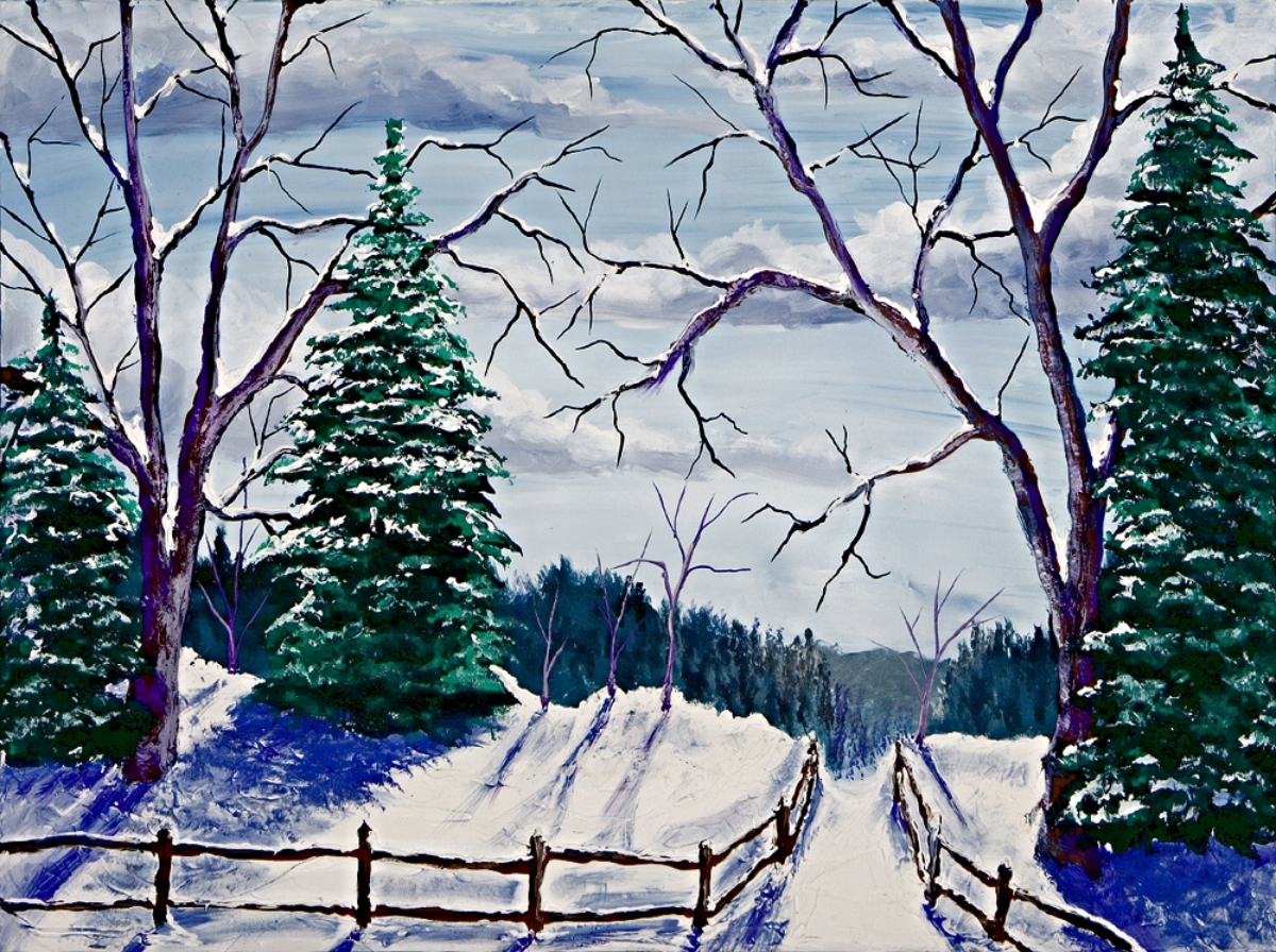 Bateman Tree Path  30x40     $500 HIGHLIGHTED  WITH  GLOW IN DARK LUMINESCENT  PAINT