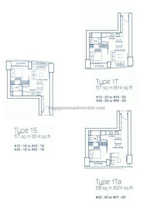 floor plan for stack 20, floors 2-62 514-624 sqft