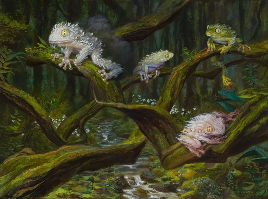 "Spore Frog Family 24"" x 30""   Oil on Panel 2008 private collection prints available in the store"