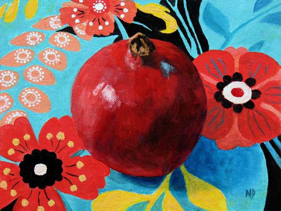 """Pomegranate  6"""" x 8""""  Oil on Canvas Panel  SOLD"""