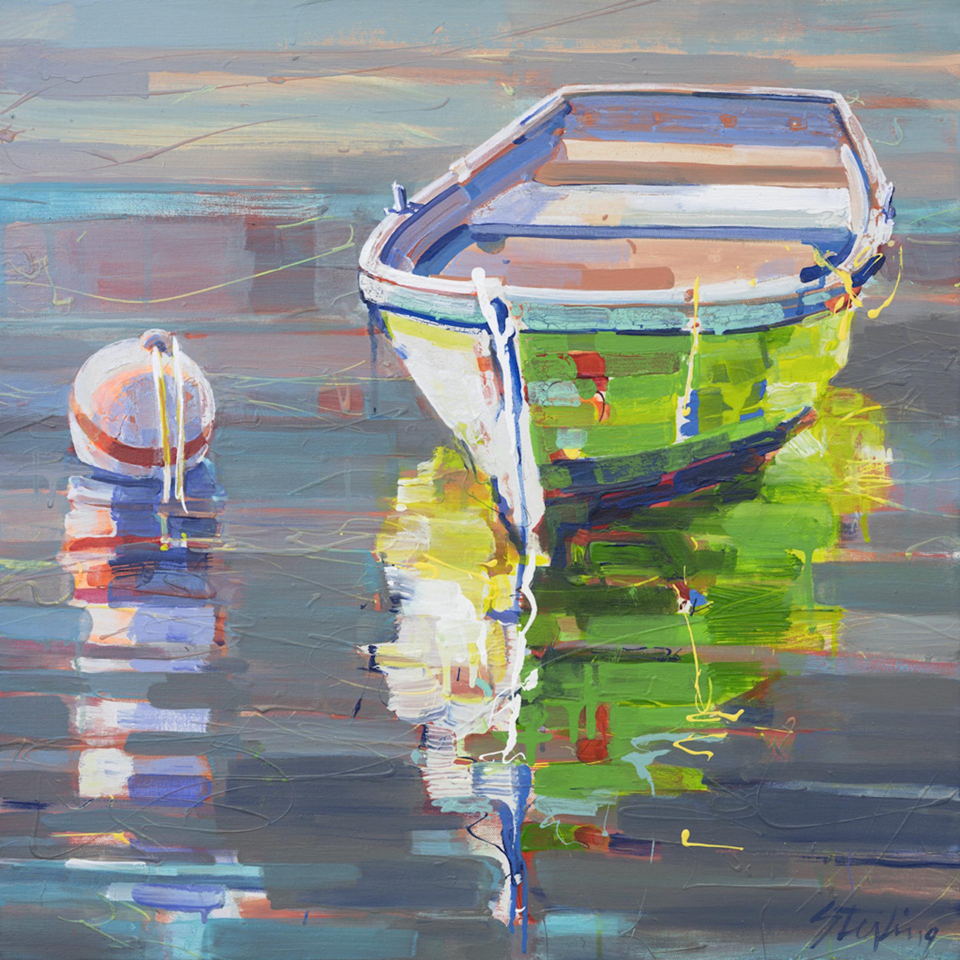 Pea Green Boat 24x24 acrylic on canvas