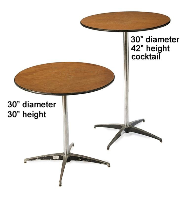 "30"" Round Table  $6/day or weekend 30"" or 42"" Tall"