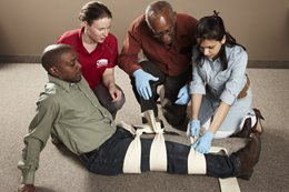 Students in Red Cross Emergency First Aid and CPR Training
