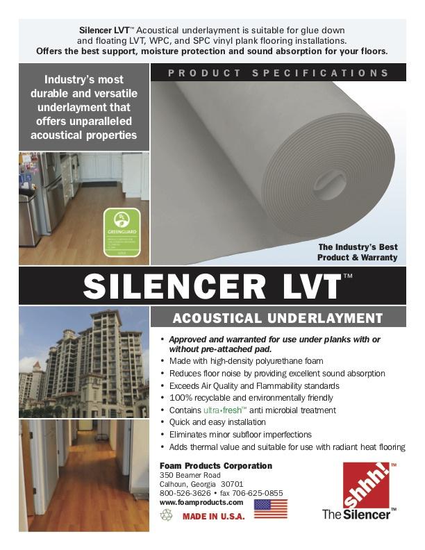 Foam Products Corporation Silencer Lvt