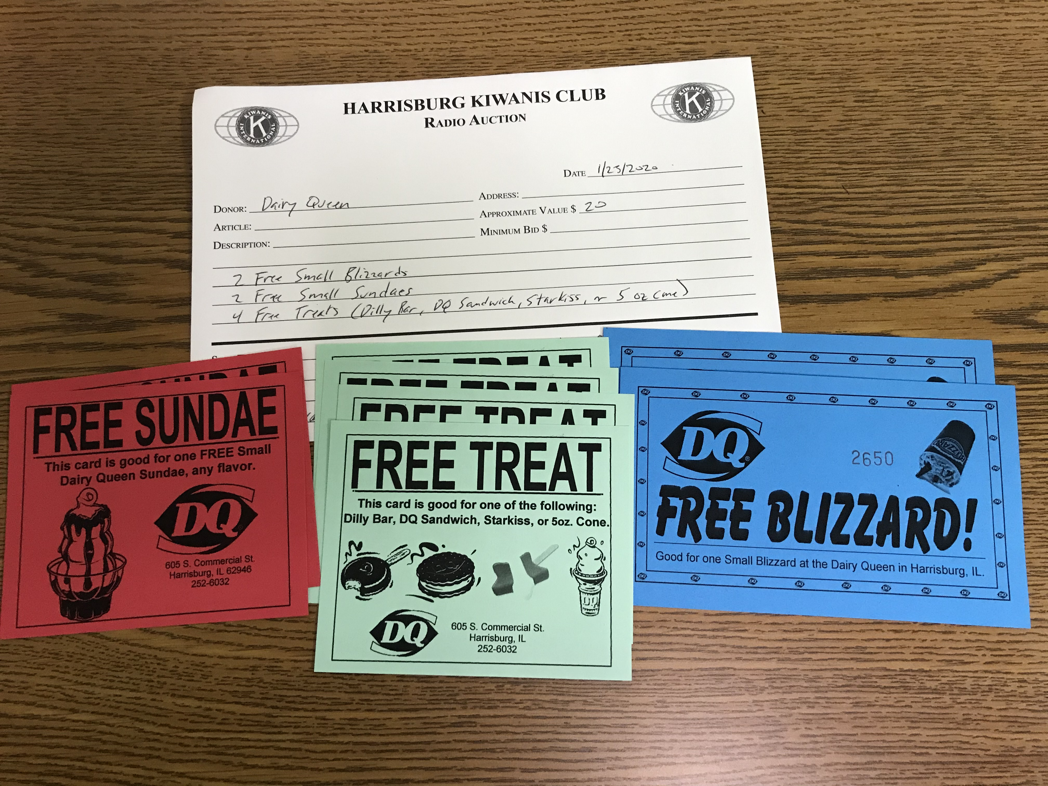 Item 113 - Dairy Queen 2 Free Small Blizzards, 2 Free Small Sundaes, 4 Free Treats (Dilly Bar, DQ Sandwich, Starkiss, or 5 oz Cone)