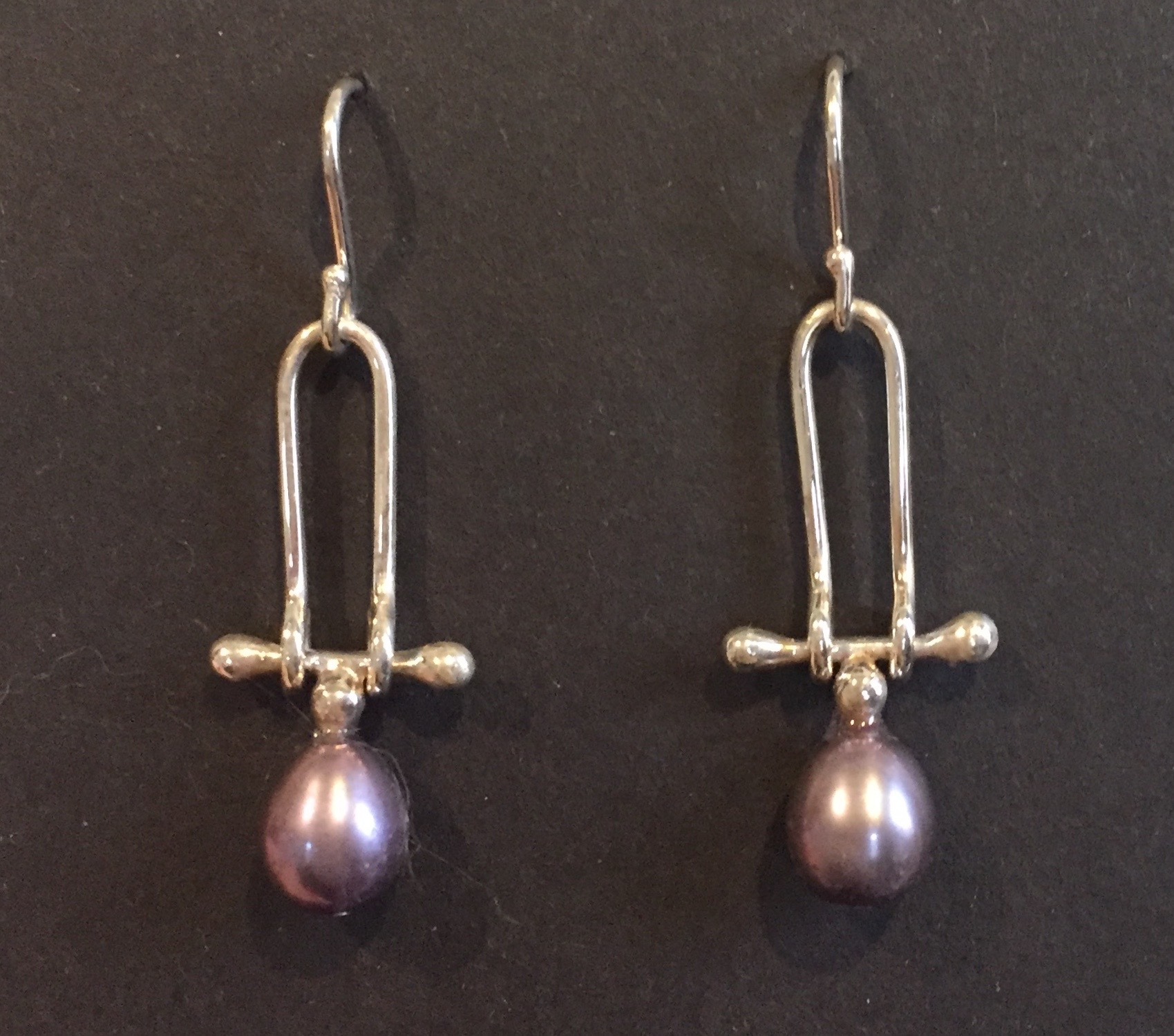 Peacock Pearl Earrings sterling and pearl $80.