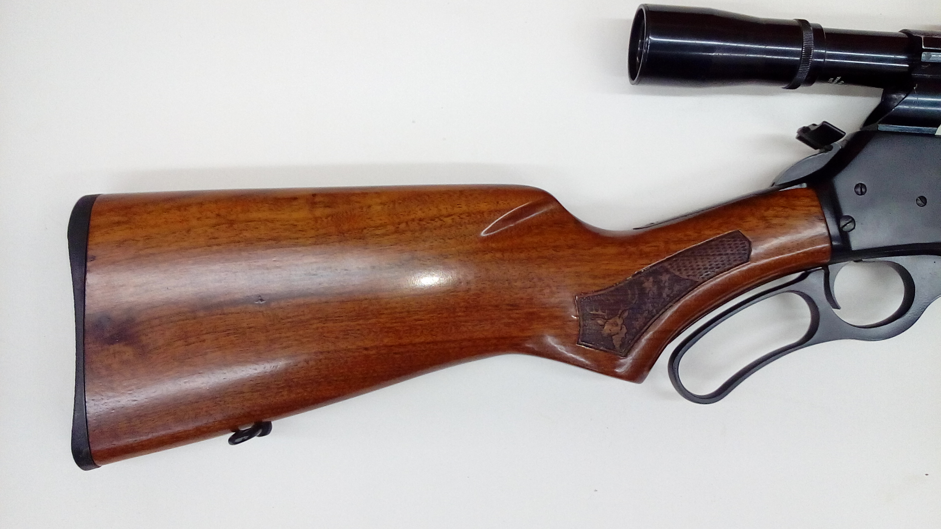 Marlin 3030 stock refinished with high gloss polyurethane, this gun was also in a fire.