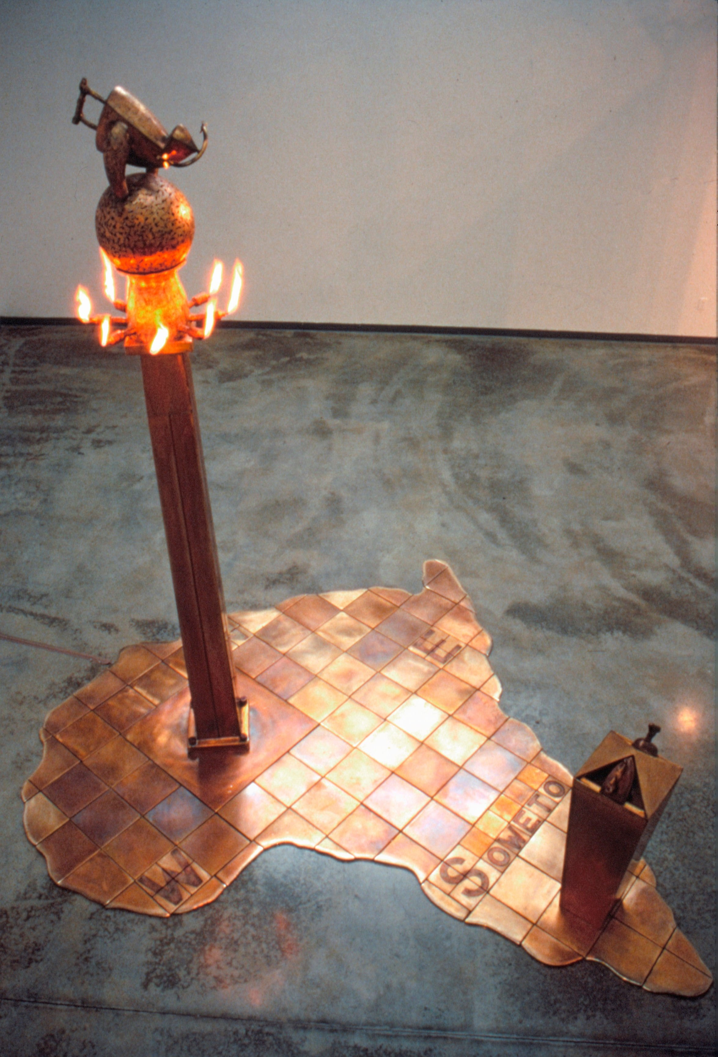 Fire for Biko - 1990, Fabricated Bronze with Patina, 12' x 10' x 12'