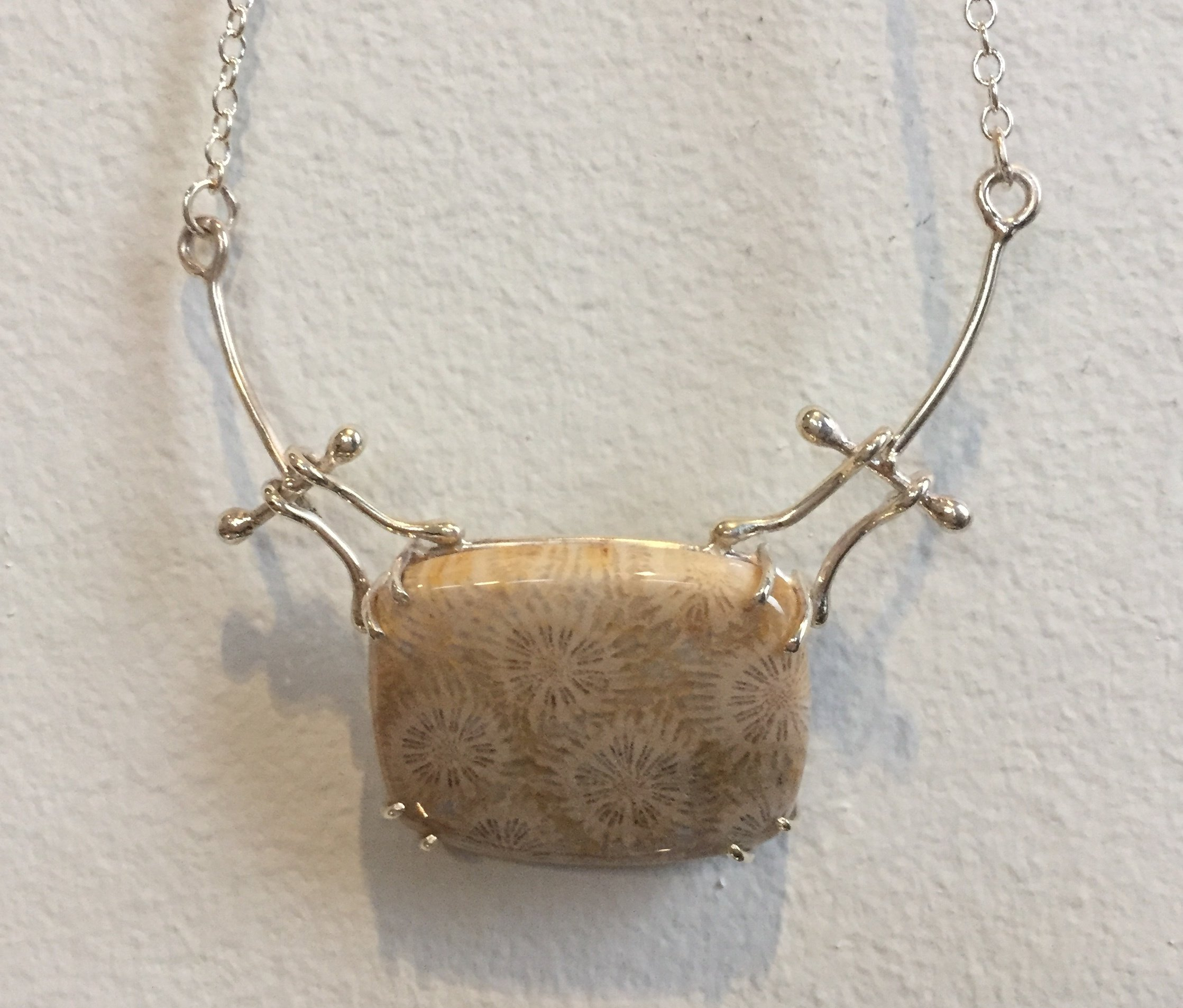 Petrified Coral Neckpiece coral and sterling silver $125. SOLD