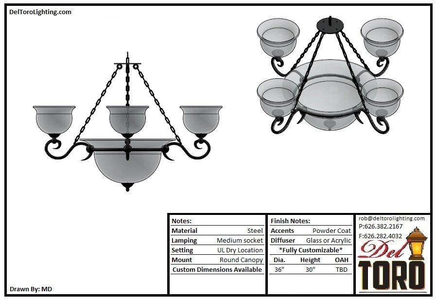 436P-Decorative 5 Bowl Chandelier