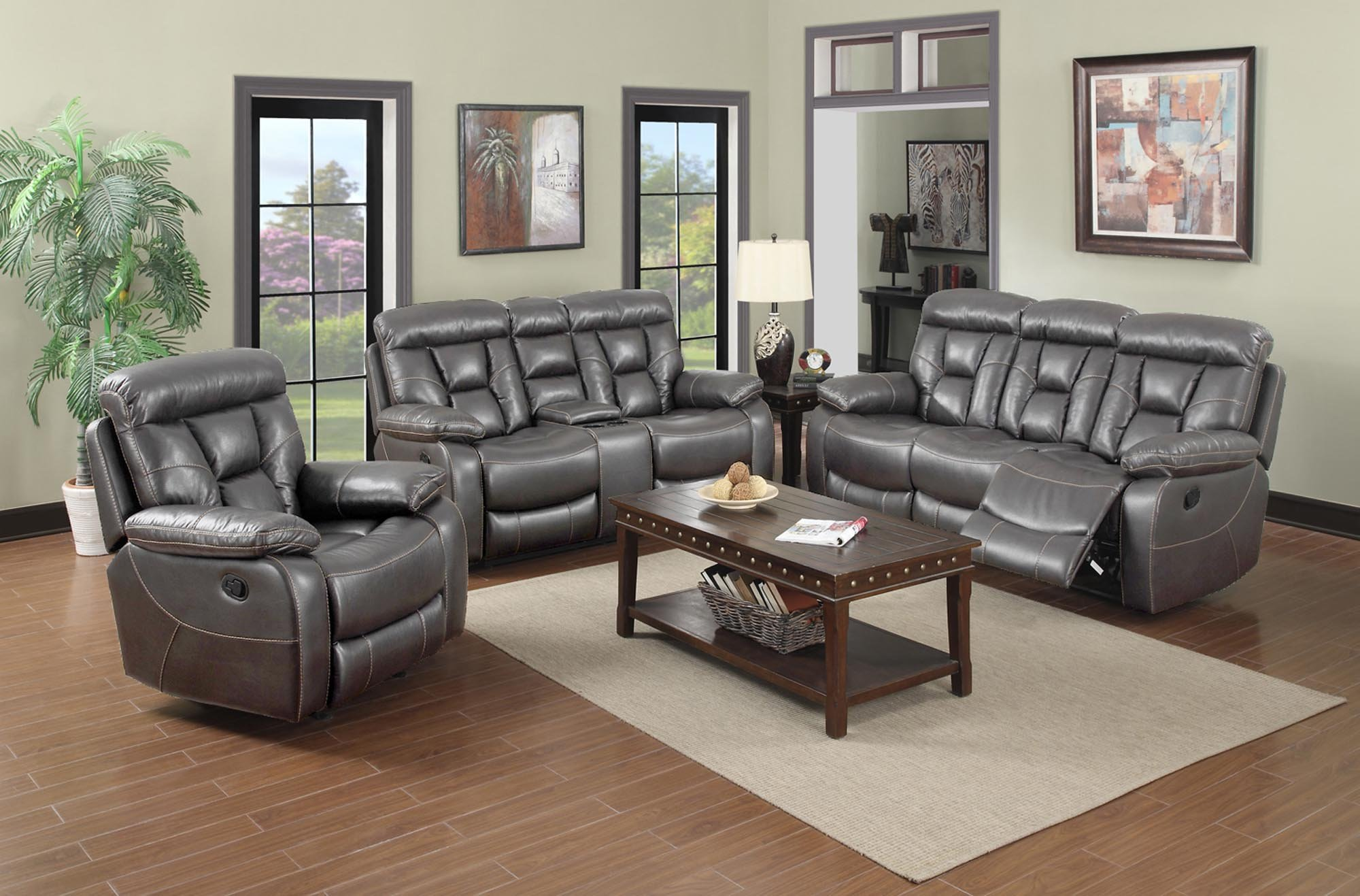 Grey Faux Leather Living Room Set
