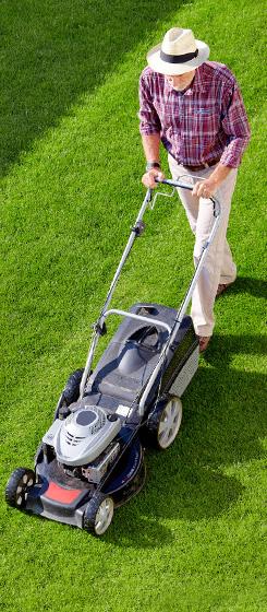 Mowing man in the garden