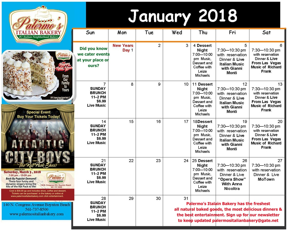 January Performance Schedule
