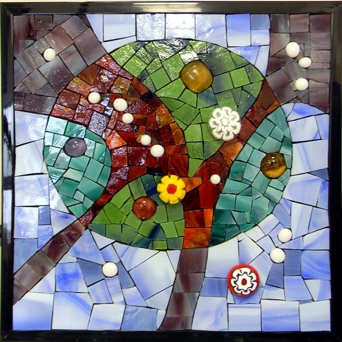 """Abstract 3"" by Nataliya Guchenia Glass Size - 8 3/8""H X 8 3/8""W $175.00"