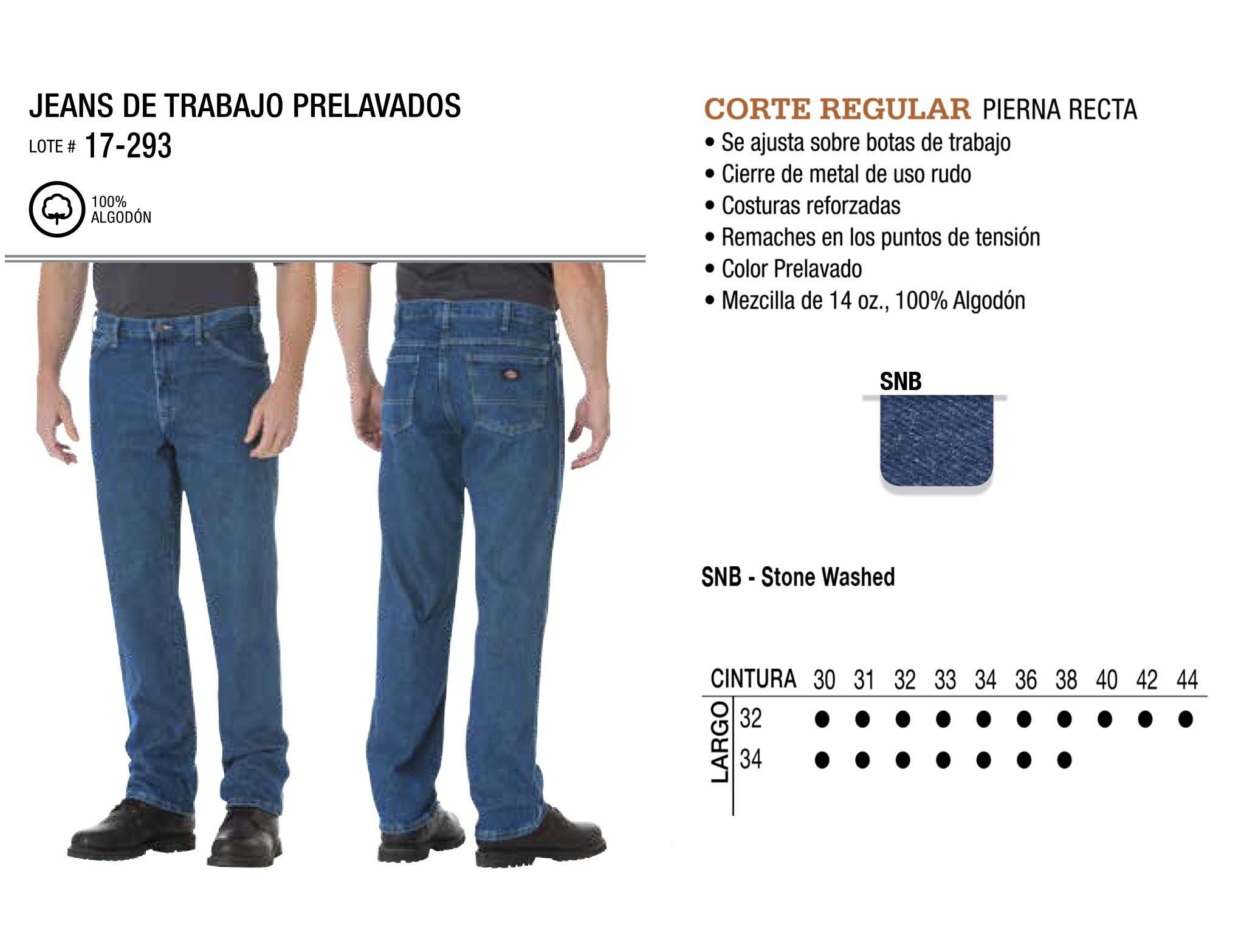 Jeans de Trabajo Prelavados. Corte Regular. 17-293.