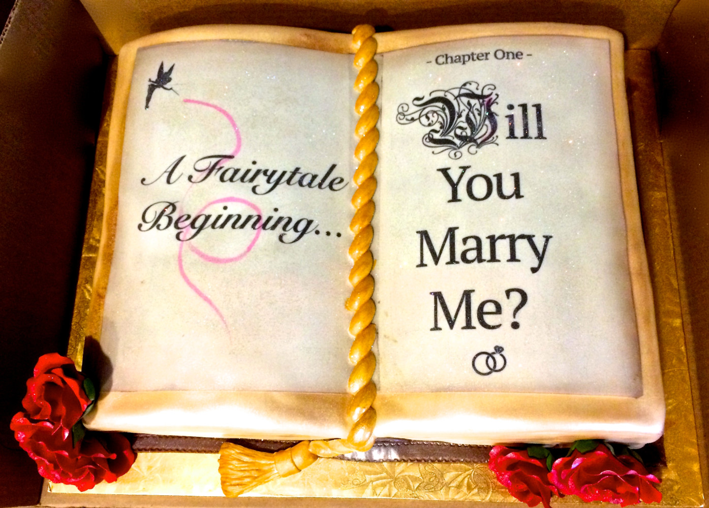 She said yes! Proposal cake