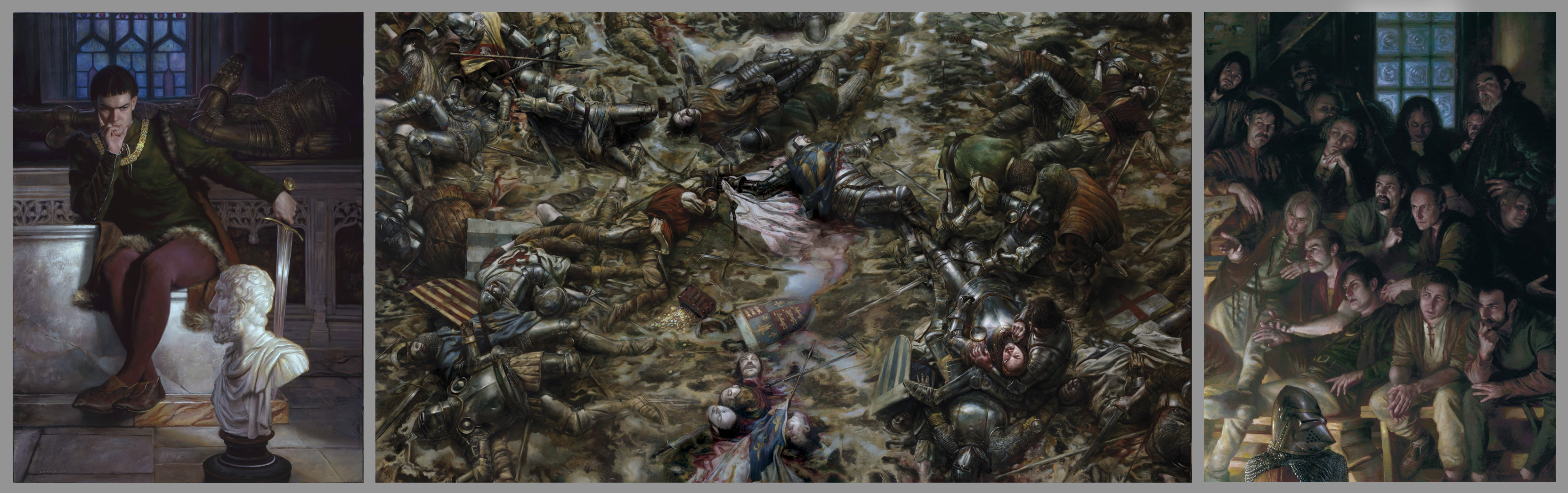 "Henry V The Battle of Agincourt, 25 October 1415 triptych overall 48"" x 168""  Oil on Panel Collection of Scot Tubbs"