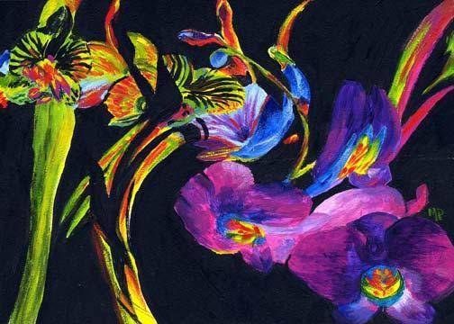 "Alien Flowers - 5""x 7"" Acrylic on Gessobord  $75"