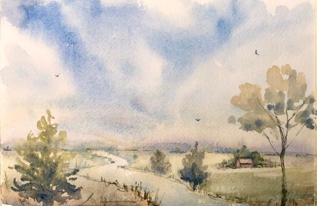 """Rural Peace Watercolor 8.5"""" X 6"""" $150."""