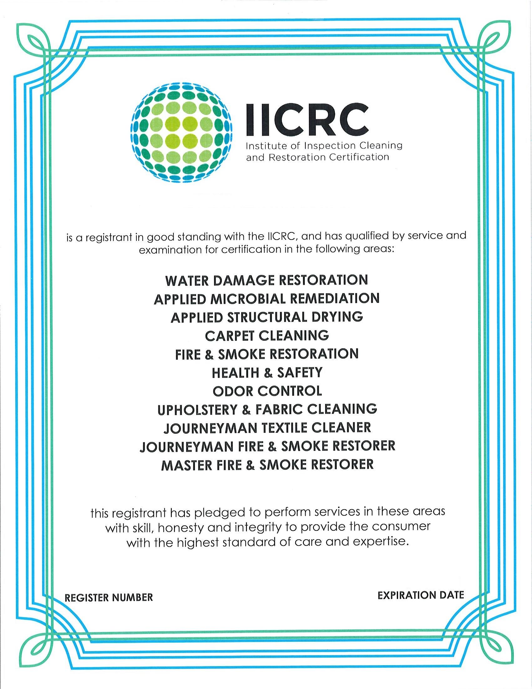 IICRC Certificate 4