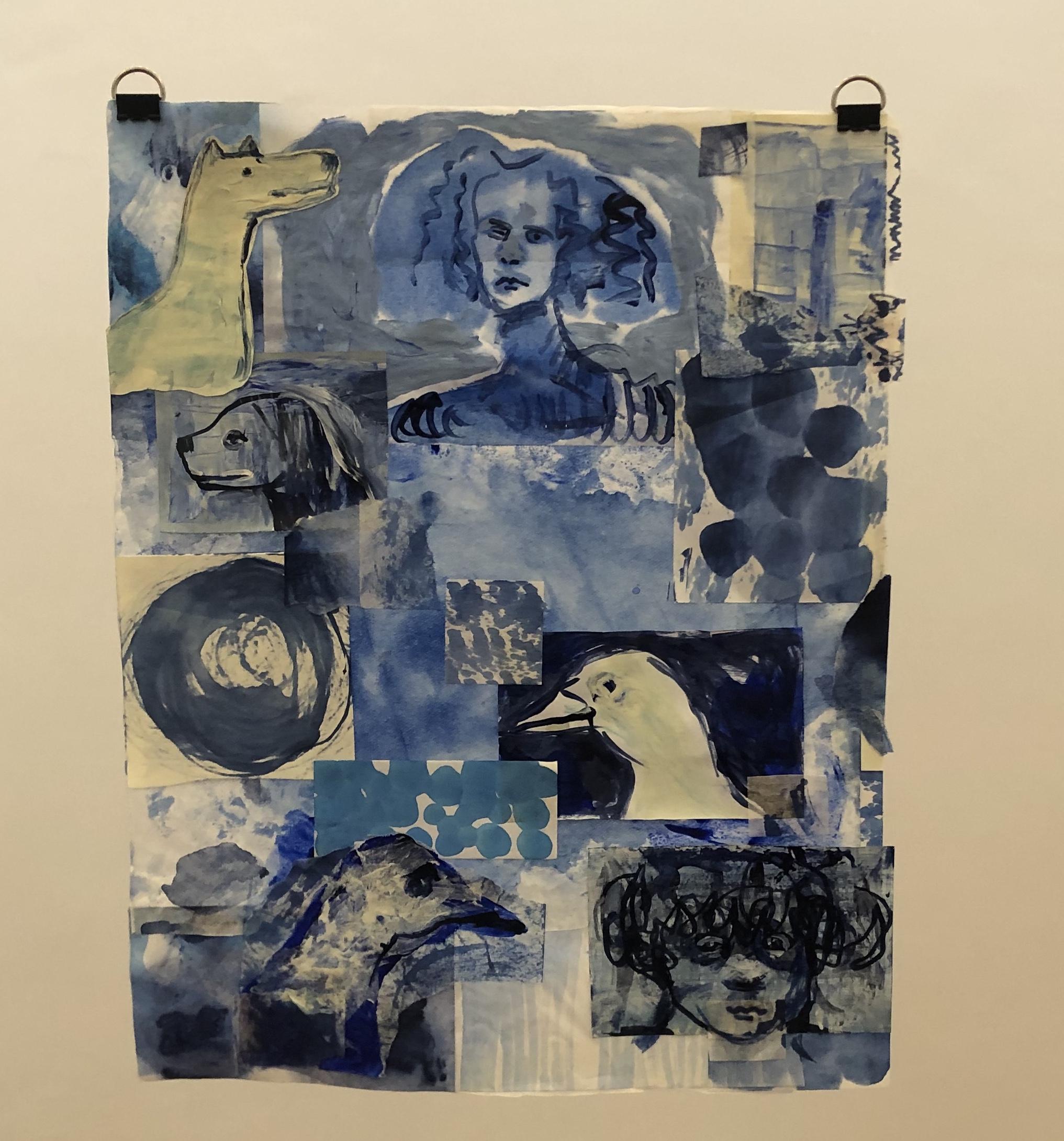 Blue Gardens III tinta sobre papel de arroz 50 x 47