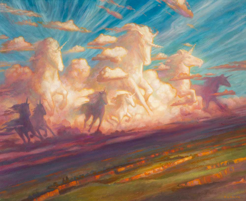"Unicorn Plains 16"" x 20""  Oil on Panel Jumpstart Set release collection of Manuel Billones"