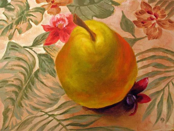 """Glowing Pear - 6""""x8"""" Oil on Panel    SOLD"""