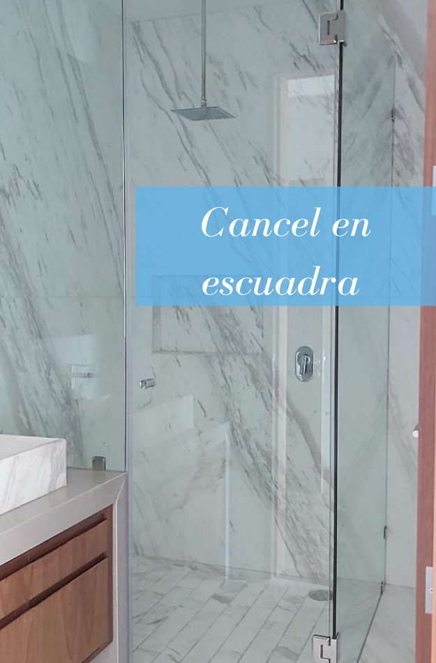 Cancel de baño en escuadra