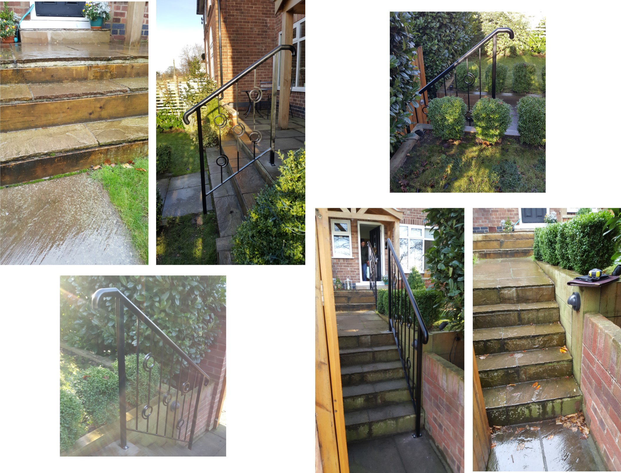 Decorative safety handrail fitted to garden steps.
