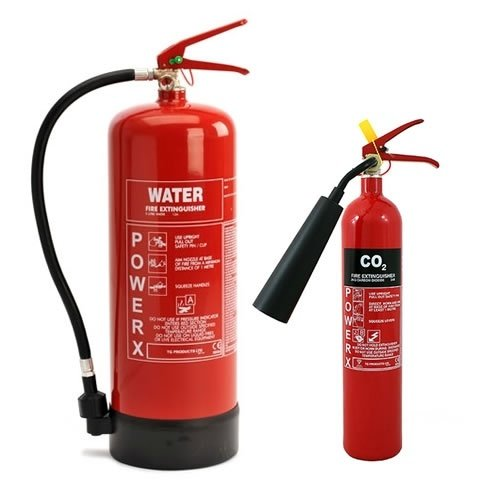 Water and CO2 fire extinguishers