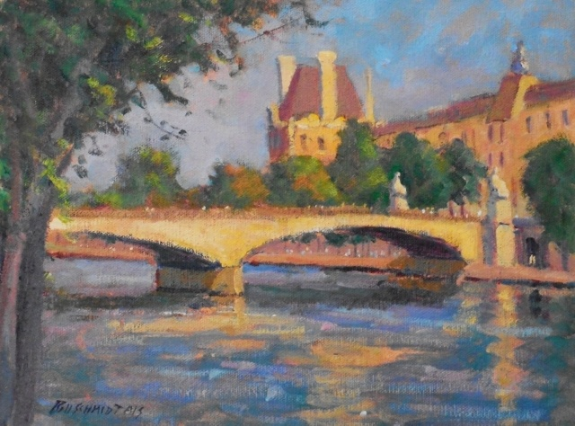 "Bill Schmidt, Pont Du Carrousel & the Louve, 9"" x 12"" Oil"