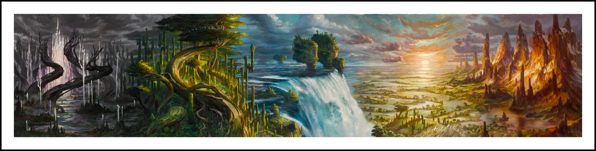 "Magic Five Lands Grand Prix Promo Cards 2018 20"" x 83""  Oil on Linen private collection"