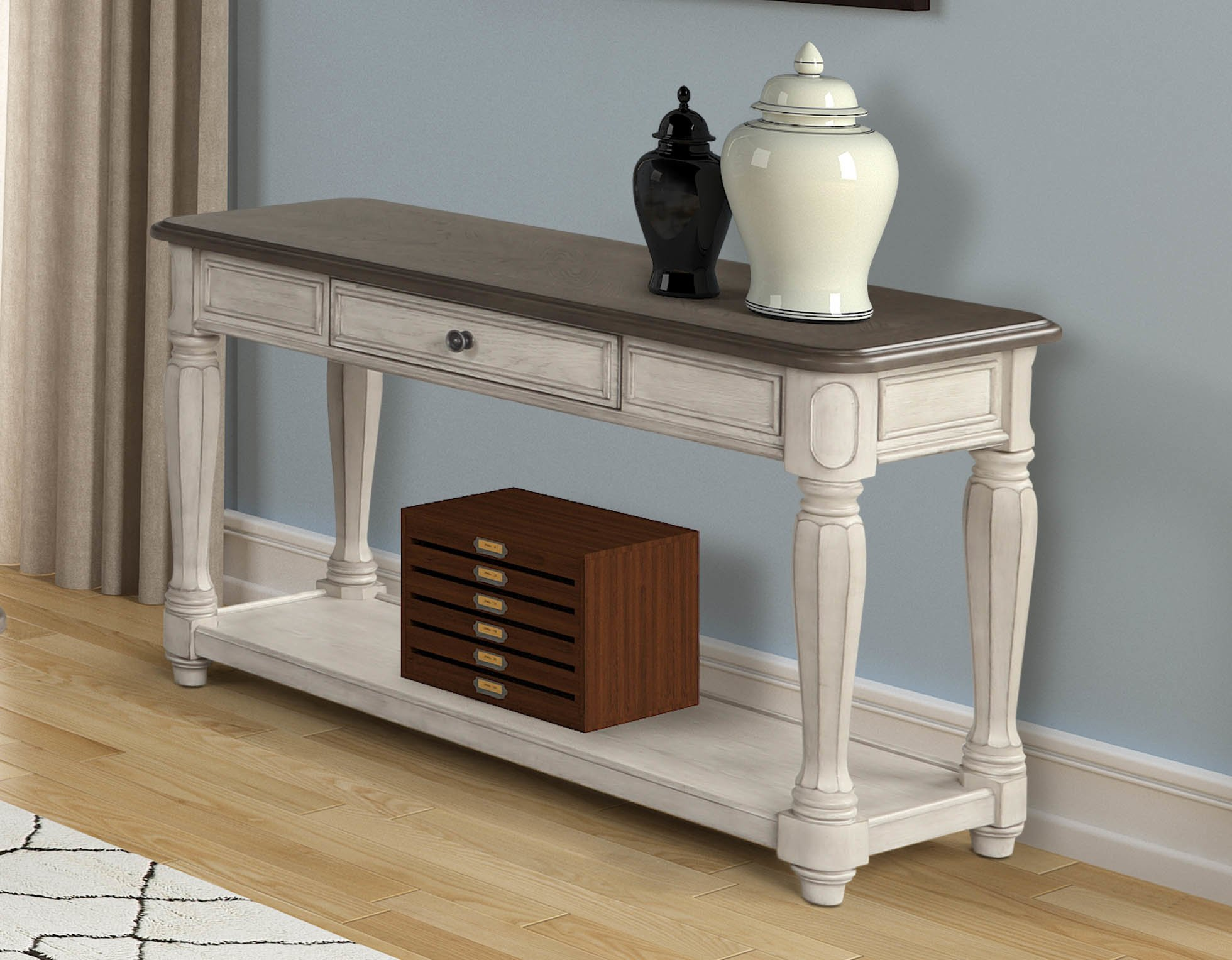 Linden Sofa Table 8918-004 Ivory and Walnut