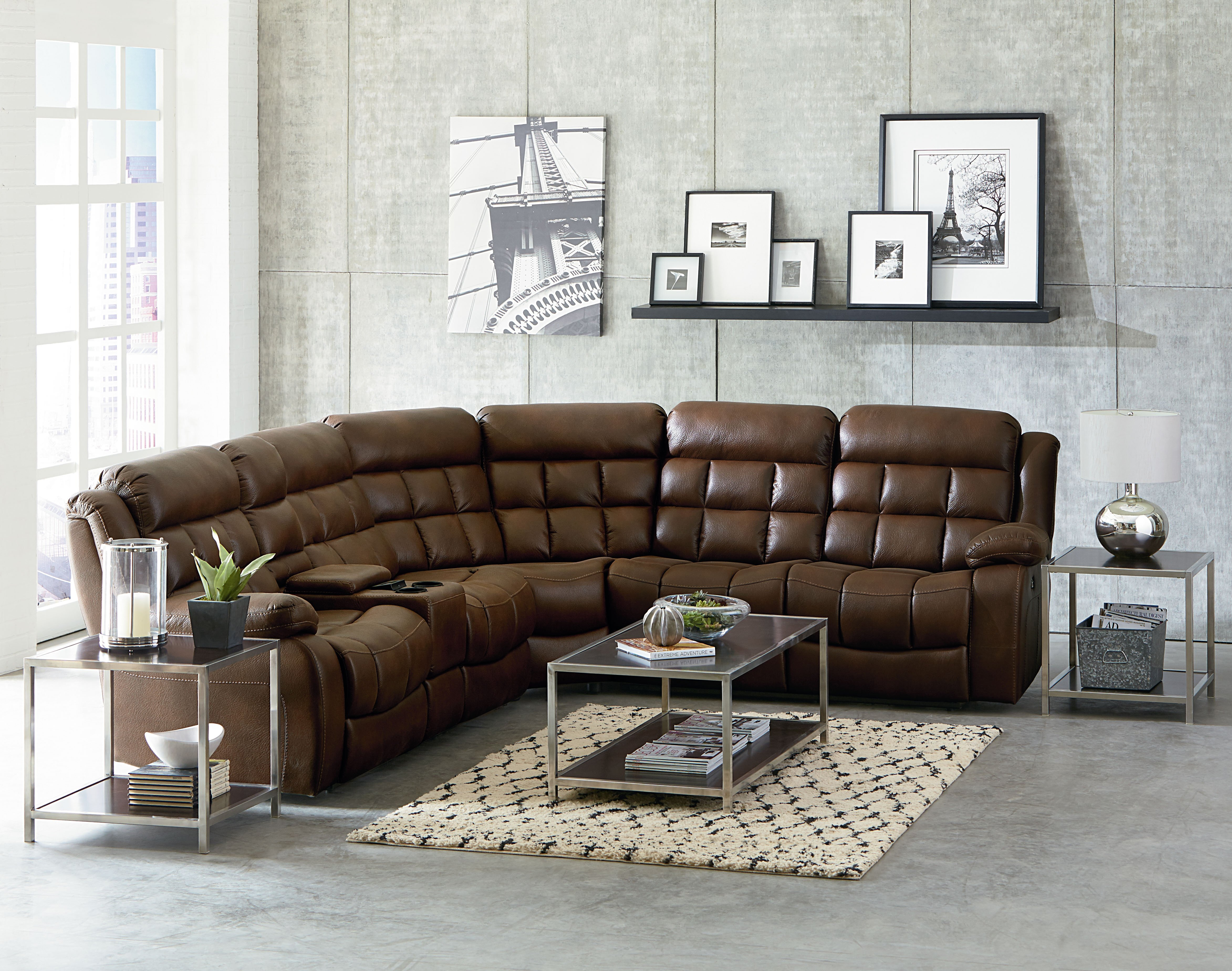 Destination Power Reclining Sectional Includes 3 Power Recliners