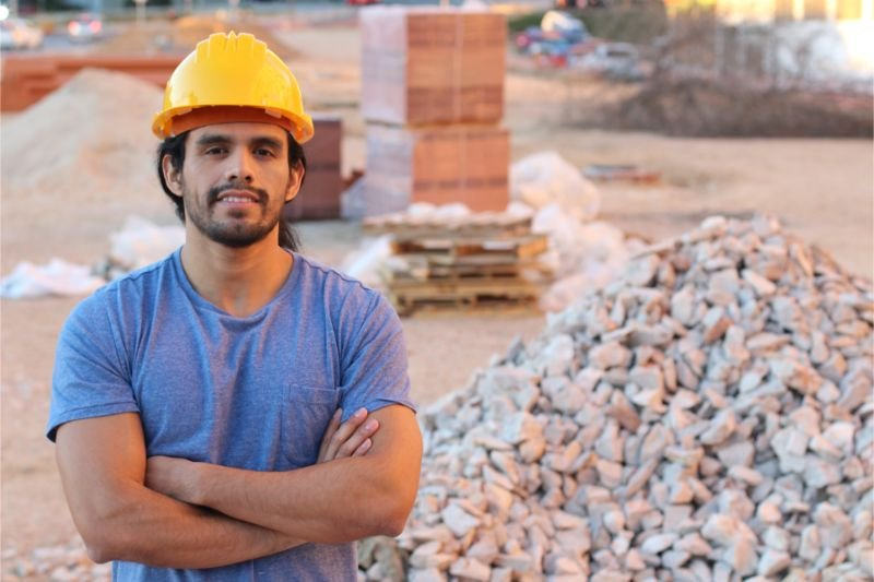 Ethnic construction worker in site