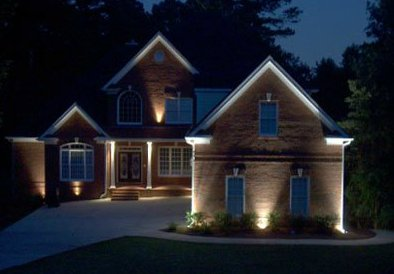 House with Landscape Lighting||||
