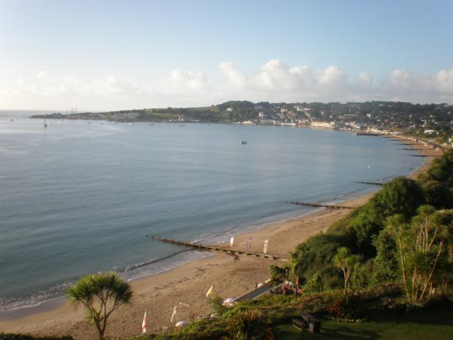 Looking out over Swanage Bay on Sunday Morning