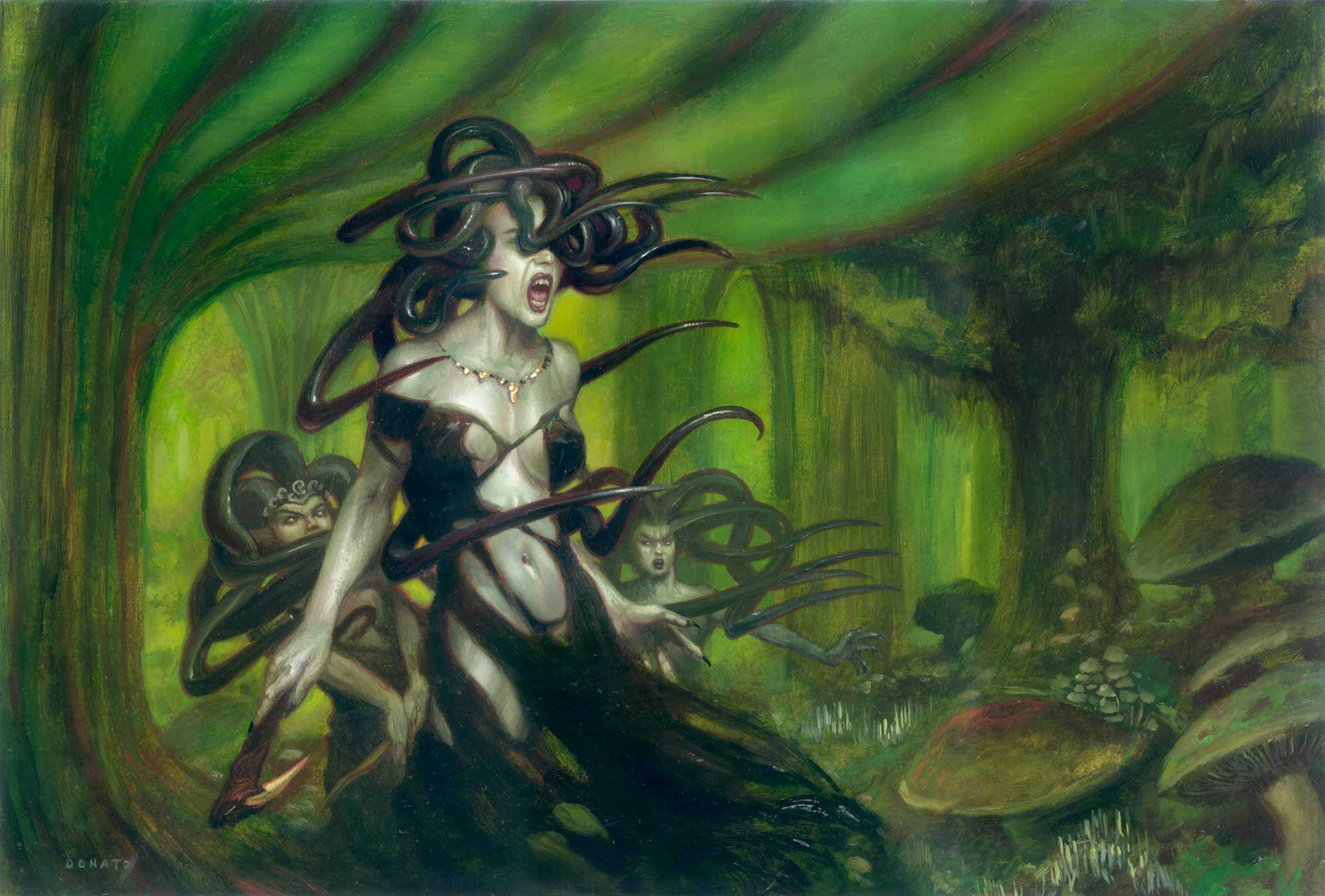 "Sisters of the Stone Death - the Gorgons from Ravnica:City of Guilds Magic: The Gathering Expansion deck 15"" x 23"" Oil on Panel 2005 private collection"