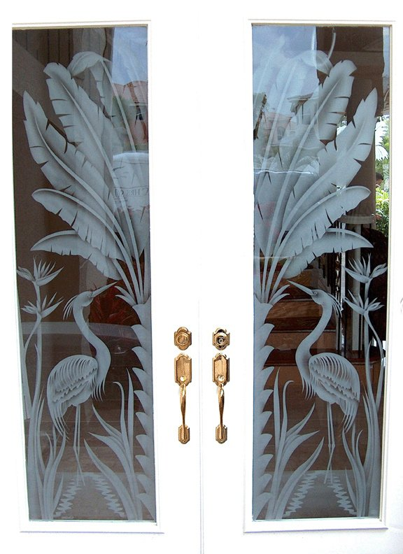Etched herons on entry door by Pierce Lindsey Glass