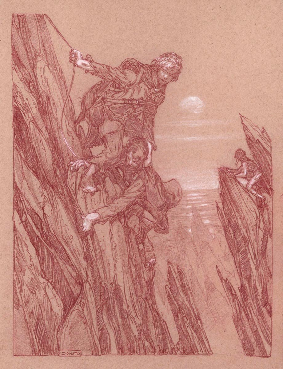 "Cliffs of Emyn Muil 14"" x 11""  Watercolor Pencil and Chalk on Toned paper 2017 private collection"