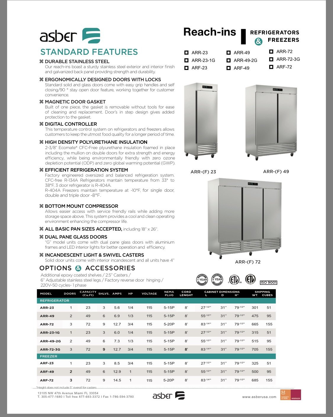 Asber Reach In Refrigerators and Freezer  Starting @  $ 1375 and UP Call For Prices