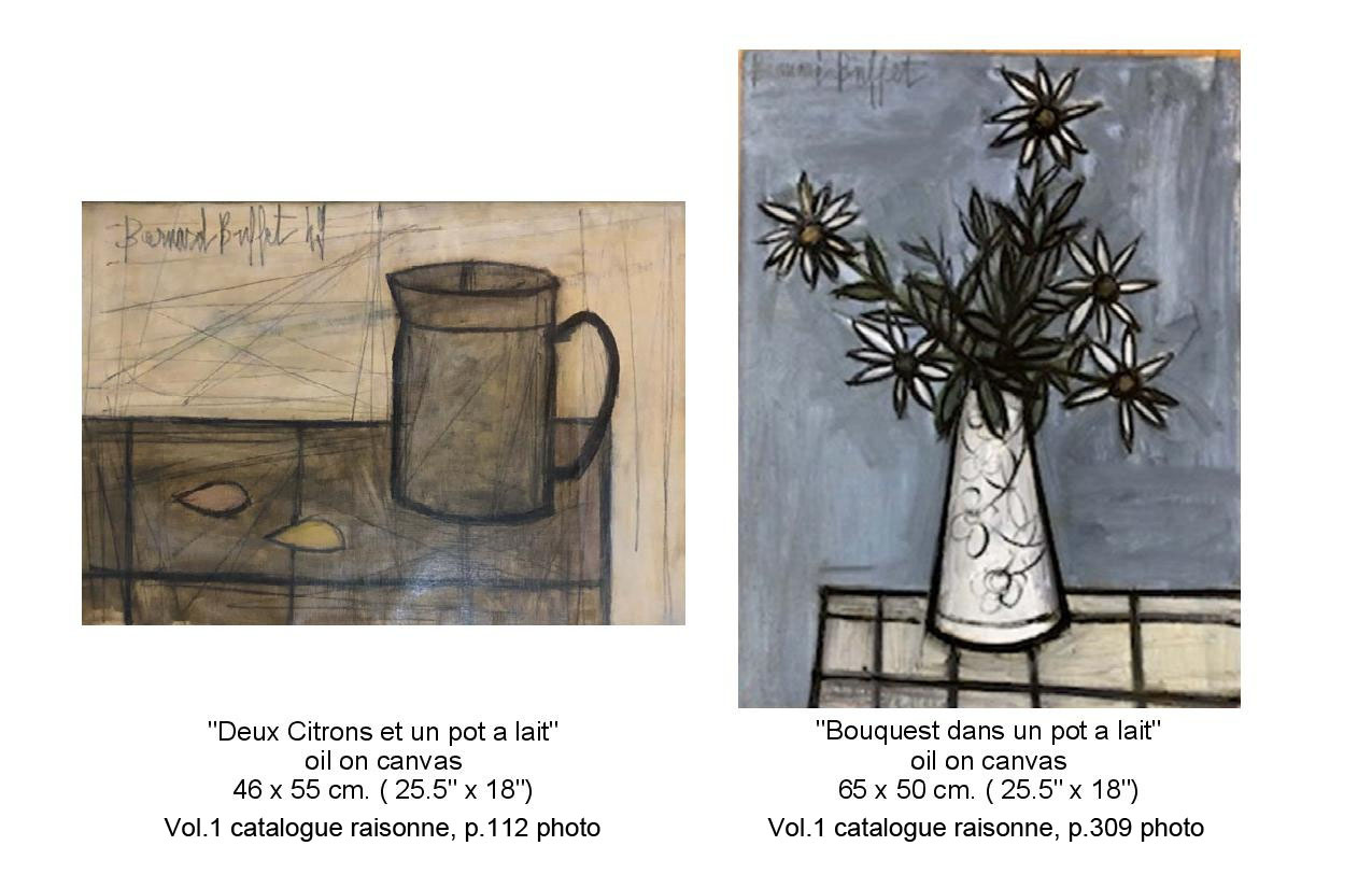 Drawing of Deux Citrons et un pot a lait oil on canvas, cup seating on a counter. Drawing of Bouquet Azalia un pot oil on canvas. Vase with flowers on a counter