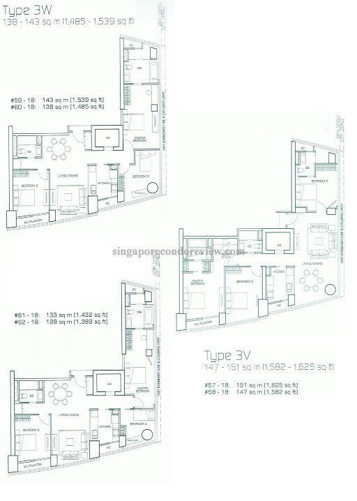 floor plan stack 18, floors 57-62 1432-1625 sq ft