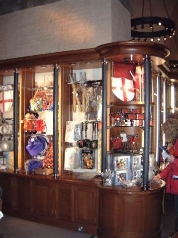 Thermal metal finishes. Pewter finished, Gift shop in the Tower of London