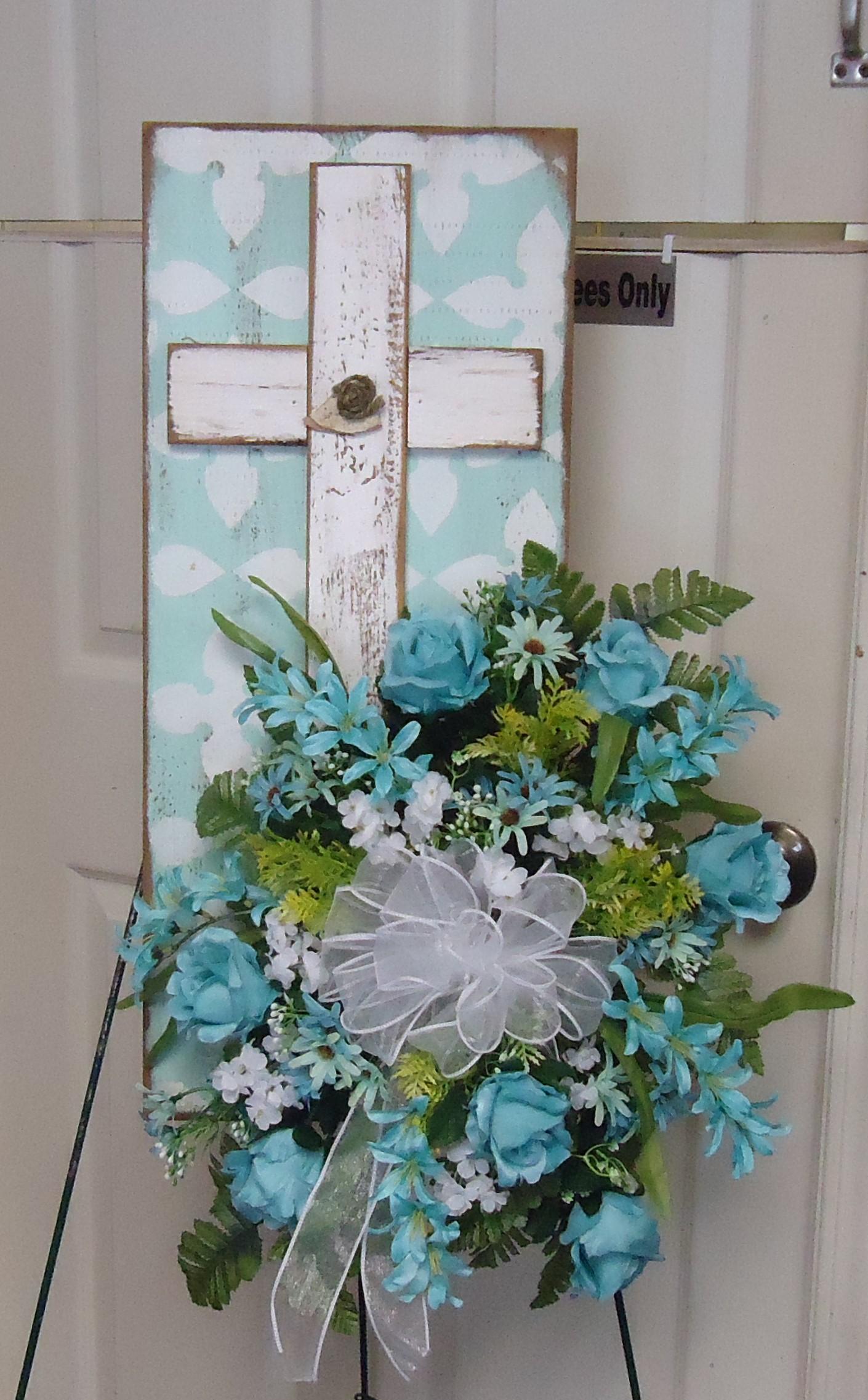 """(42)  """"Cross"""" Plaque  W/ Silk Flowers $45.00"""