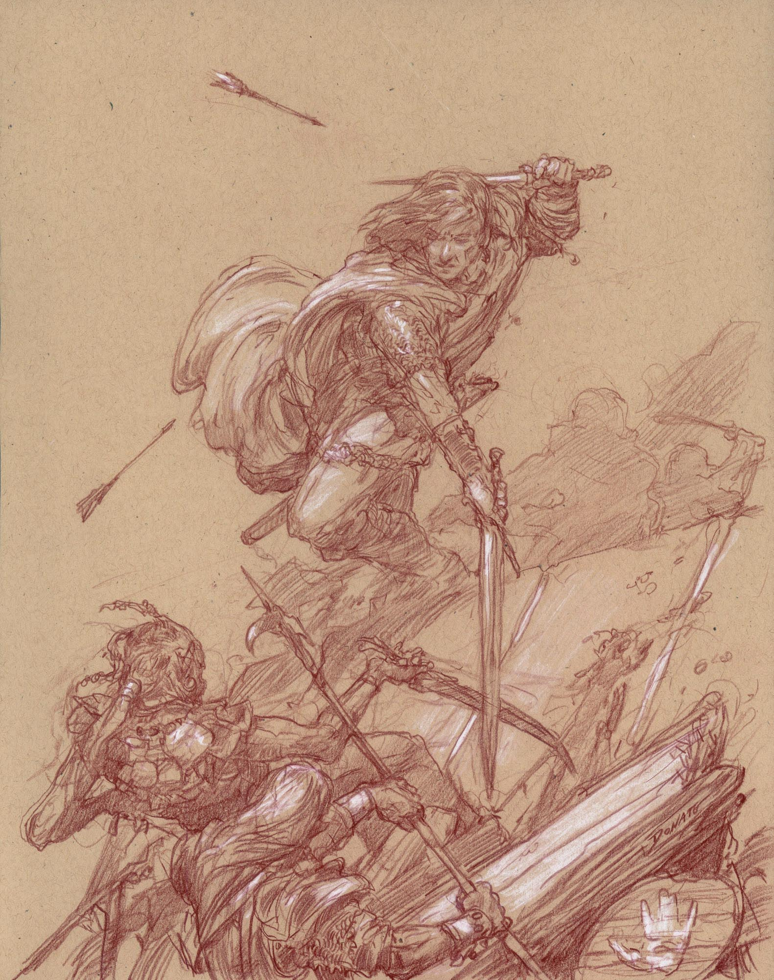 "Aragorn - Helm's Deep Wall 14"" x 11""  Watercolor Pencil and Chalk on Toned paper 2012 private collection"
