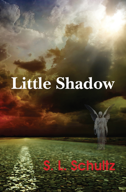 """""""Little Shadow"""" book cover, showing an angel alighting on a highway as a storm gathers in the distance"""