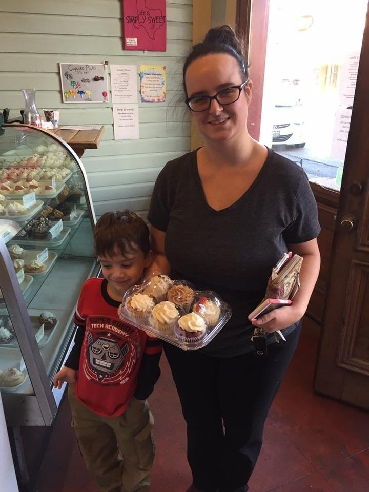 Mother And Son With Cupcakes