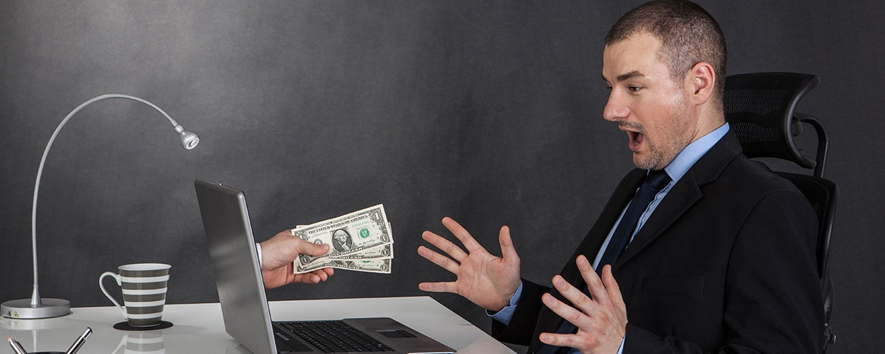 Businessman Earning Money On Network
