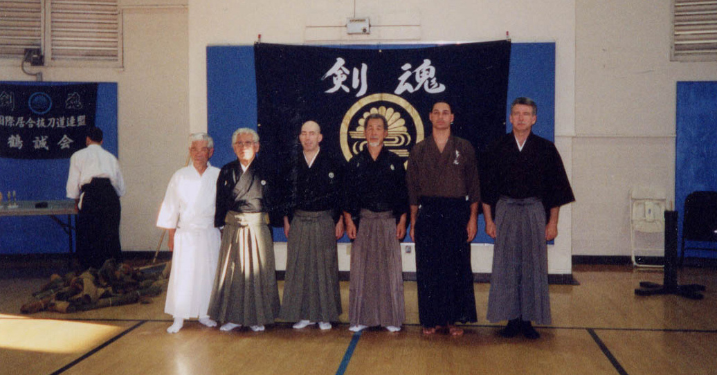 Kurosawa, Sato Shimeo Sensei, Guy Power, Suzuki Kunio Sensei, Peer Halperin (host), Carl McClafferty.